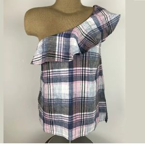 Cloth and stone plaid one shoulder blouse